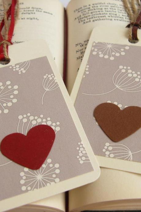 Hearts on Elegant Floral gift tag bookmarks (set of 2)