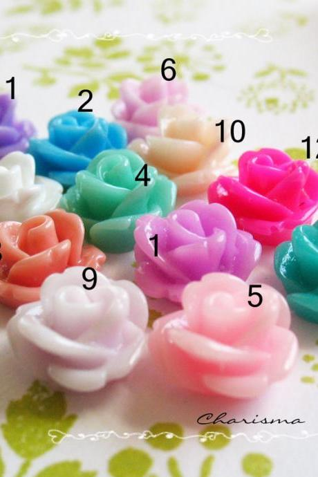 4 Resin Mini Roses Mum Flower Cabochons Accessory 10x6.5mm
