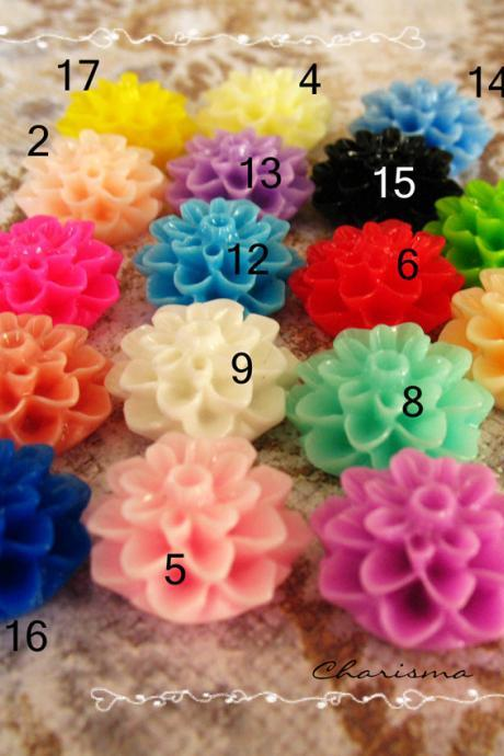 24 Mixed colors -you choose the color and how many- Resin Chrysanthemum Flower Cabochons Accessory 15x8mm