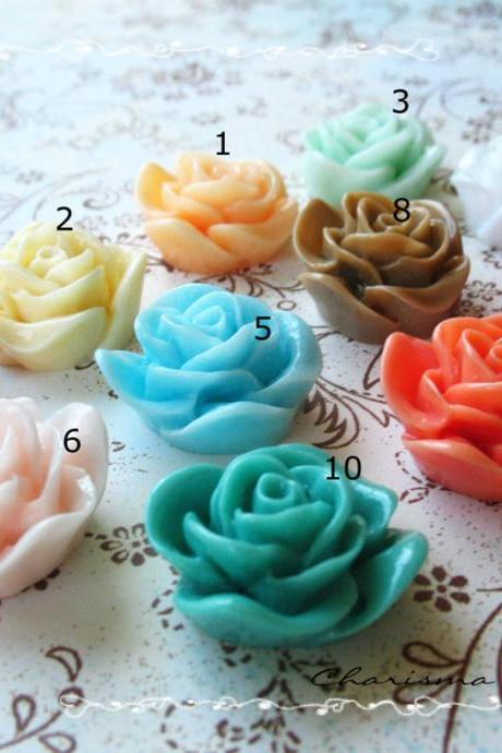 24 Mixed colors -you choose the color and how many- Resin Roses Cabochons Flower Accessory 22x22x12mm