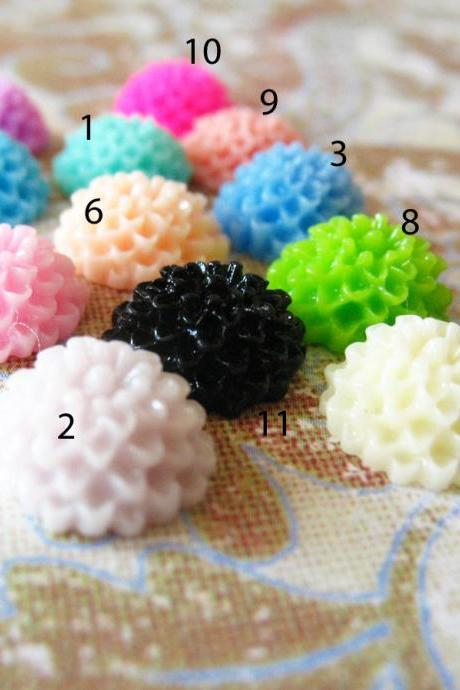 8 Mixed colors -you choose the color and how many- Resin Chrysanthemum Mum Flower Cabochons Accessory 10x4.5mm