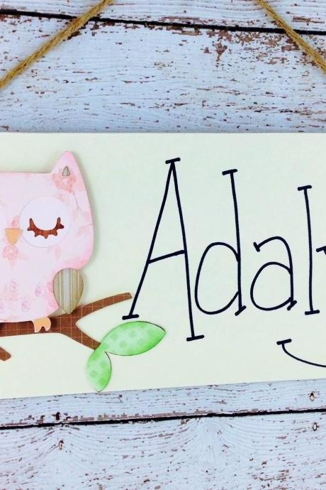 Personalized Kids Room Door Sign Pink Owl