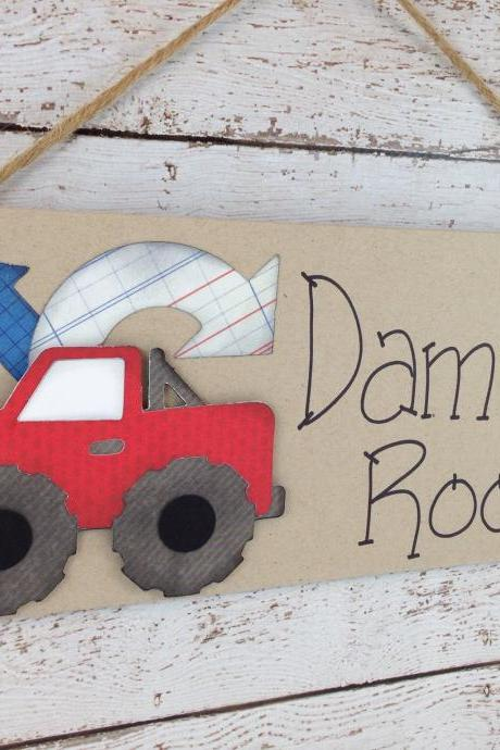 Personalized Kids Bedroom Door Sign Red Truck