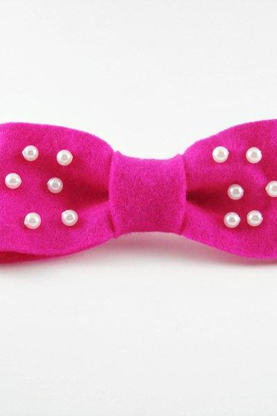 Cute Hot Pink Pearl Bow Clip