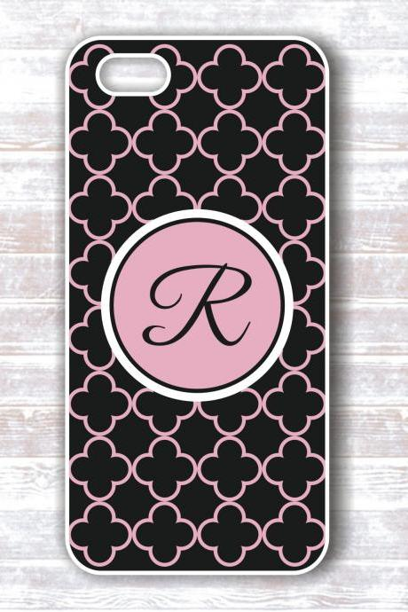 Monogram Iphone 4/4S Case Black Quatrefoil Pink Monogram - Personalized Hard Cases for iphones