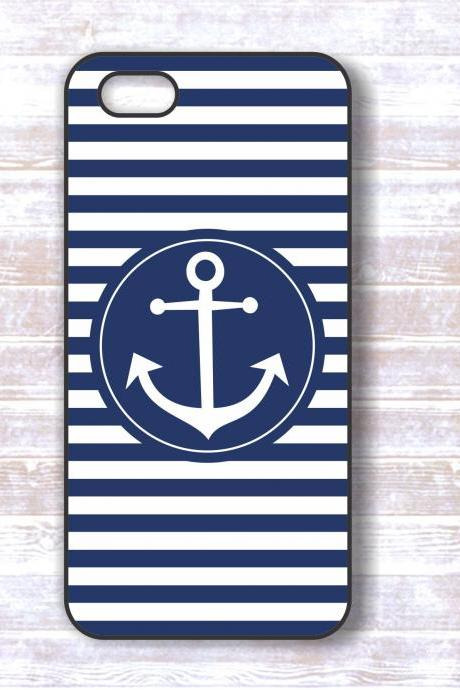 Anchor iPhone Case - Nautical White And Dark Blue Stripes Protective iPhone Back Hard Covers
