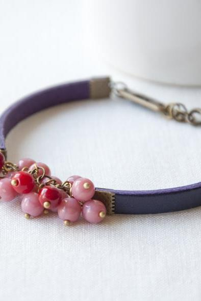 Purple Charm Bracelet - Purple leather with pink and red glass beads