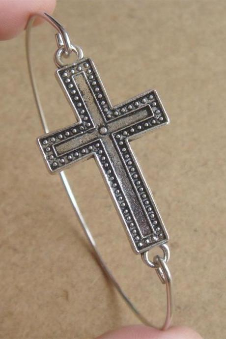 Cross Bangle Bracelet
