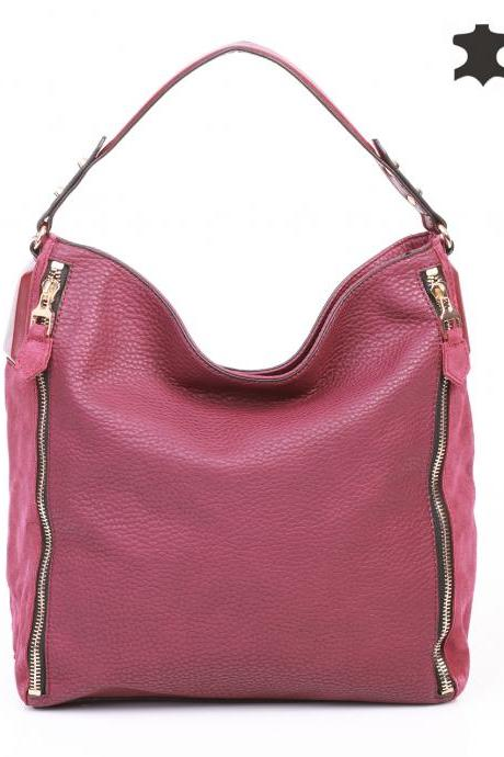 Marsala Leather Tote Handbag. Red Handbag. Red Tote.