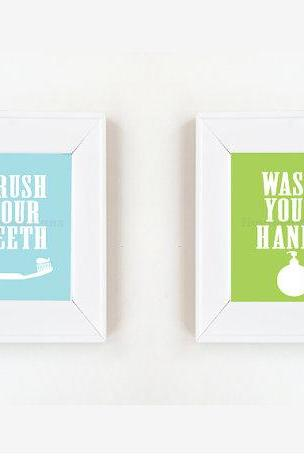 8x10 Brush your teeth, wash your hands print set