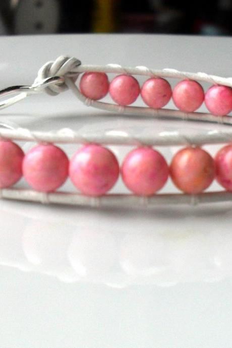 Wrap Bracelet Leather and Pink Fossil Stone Beads