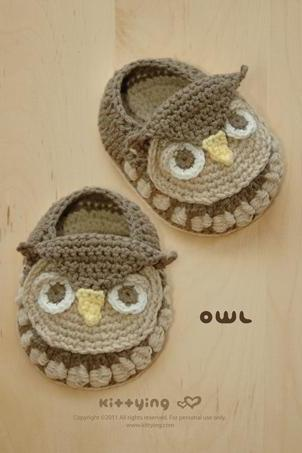 Owl Baby Booties Crochet PATTERN (pdf) by kittying