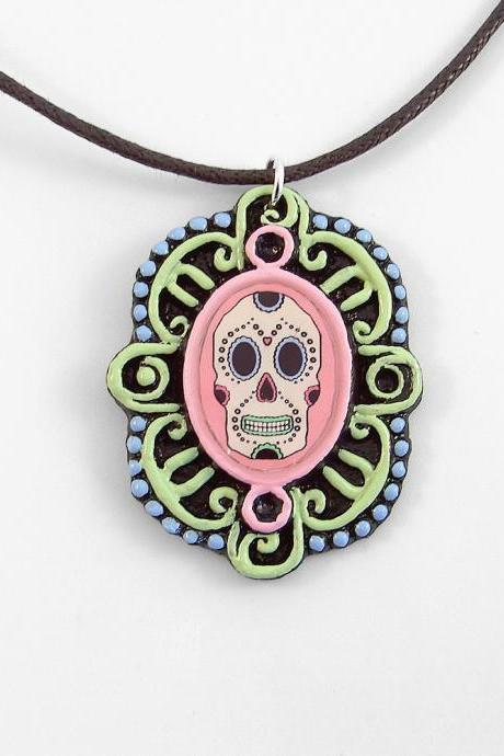 Sugar Skull Cameo Pendant and Cord Necklace