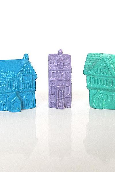 Set of 3 Mini Pastel German and European House Collection