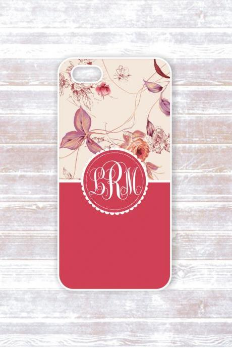 Monogrammed Iphone 5 case - Indian red and cream color with white monogram - damask - personalized hard cover for iphone 5