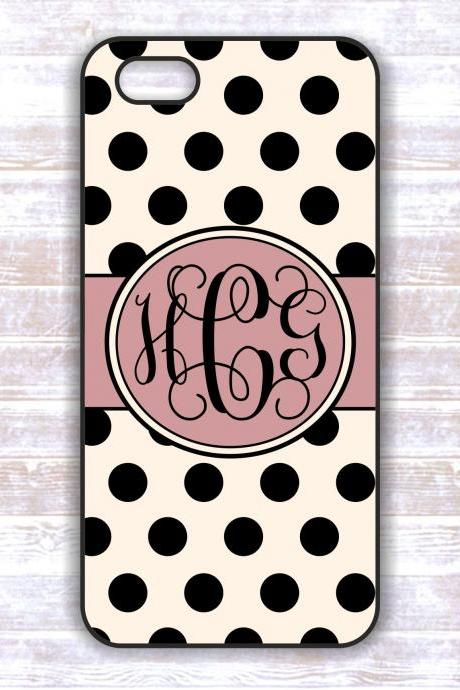Monogrammed Iphone 5 case - Black Polka Dots Personalized Hard Cases for iphones