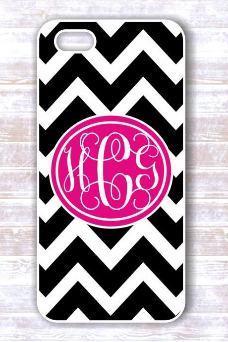 Iphone 4/4S case -Monogrammed Case Black And White Chevron Hot Pink Monogram - Personalized Hard Cases for iphones