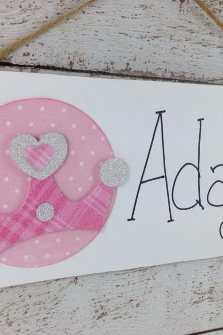 Personalized Pink Glitter Crown Bedroom Door Sign