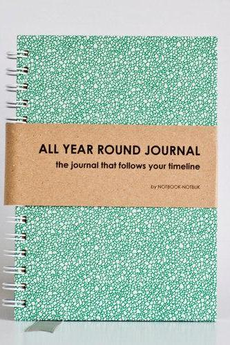 All Year Round Timeless Journal (Self filled dates, months & years, fabric wrapped) - Green Moss