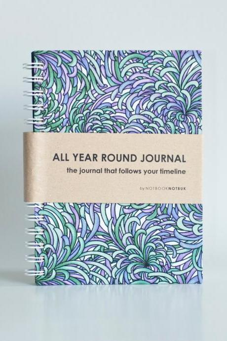 All Year Round Timeless Journal (Self filled dates, months & years, fabric wrapped) - Purple Lavender