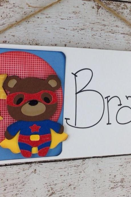 Personalized Superhero Bear Children's Bedroom Door Sign