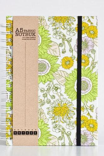A5 Natural Floral Fabric Wrapped Notebook with Elastic Band (choose from line / empty sheets)