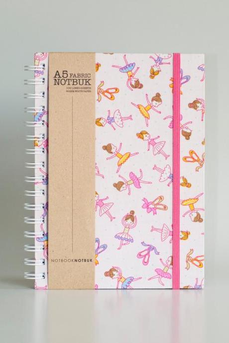 A5 Ballerina Girls Fabric Wrapped Notebook with Elastic Band (choose from line / empty sheets)
