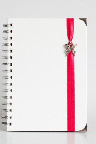 Dream - Red with Butterfly Charms and book corners (White Leather Textured Hard Cover with Kraft Paper)