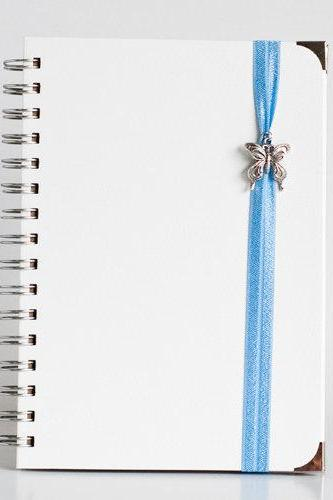 Dream - Blue with Butterfly Charms and book corners (White Leather Textured Hard Cover with Kraft Paper)