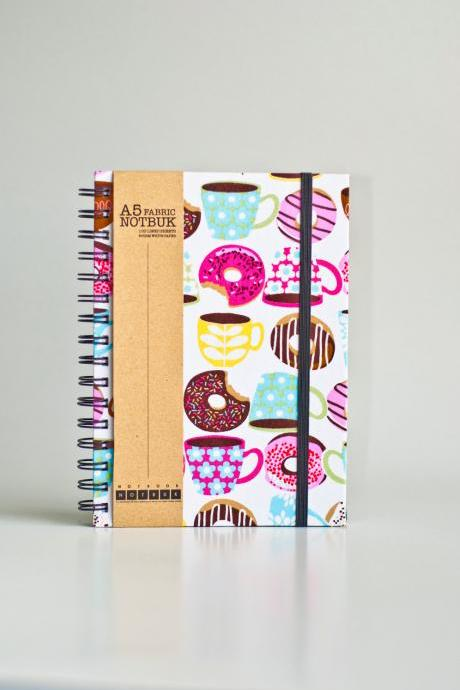 A5 Coffee & Donuts Fabric Wrapped Notebook with Elastic Band (choose from line / empty sheets)