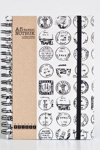 A5 Post Stamp Fabric Wrapped Notebook with Elastic Band (choose from line / empty sheets)