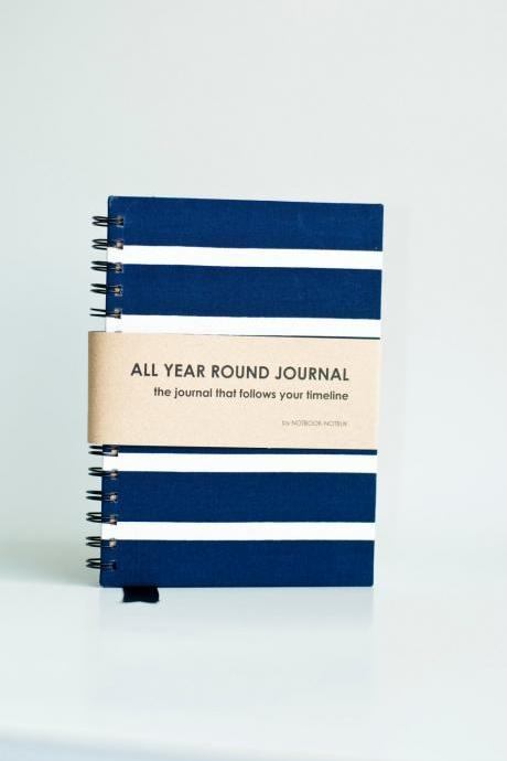 All Year Round Timeless Journal (Self filled dates, months & years, fabric wrapped) - Navy Nautical