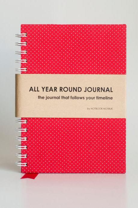 All Year Round Timeless Journal (Self filled dates, months & years, fabric wrapped) - Red Polkadots