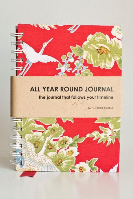 All Year Round Timeless Journal (Self filled dates, months & years, fabric wrapped) - Red Japanese Flying Phoenix
