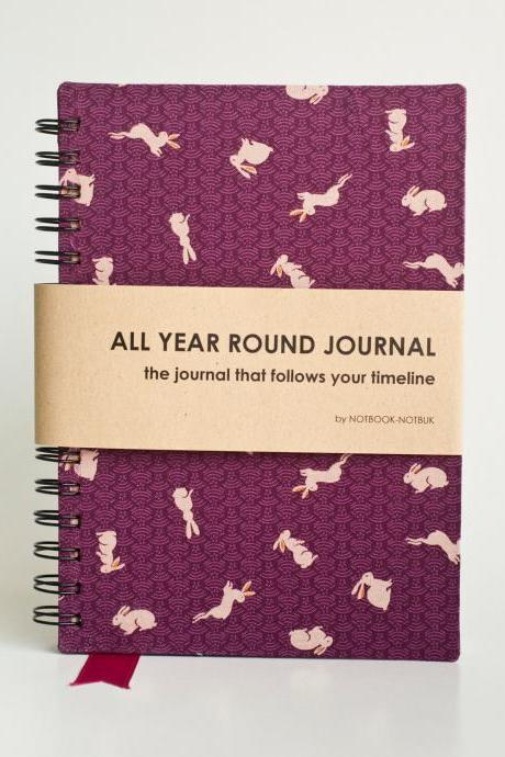 All Year Round Timeless Journal (Self filled dates, months & years) - Bunnies In Purple Land
