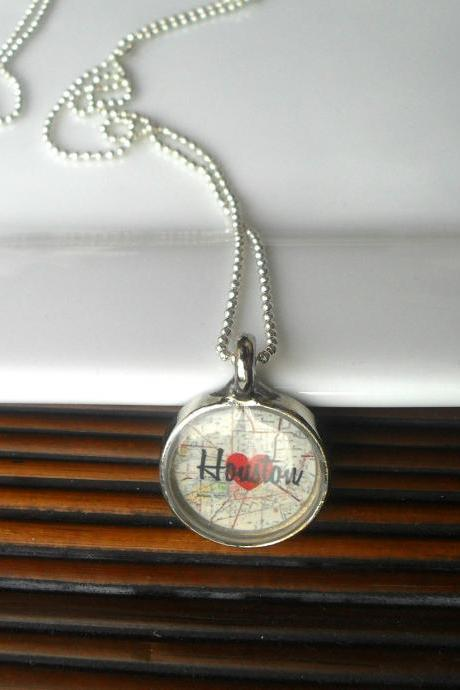 Houston Map Necklace