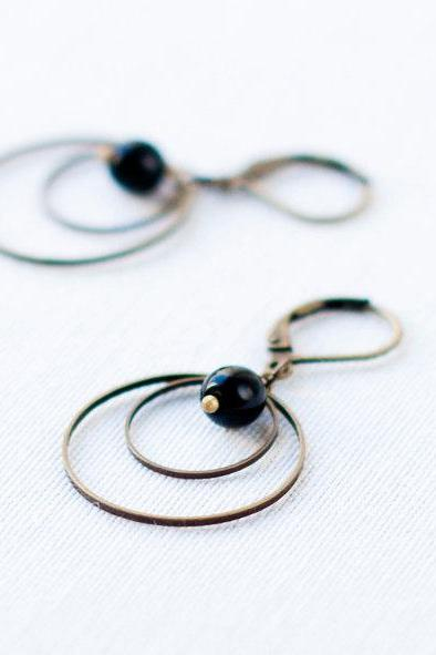 Hoop Earrings with black glass beads - drop earrings - black earrings - glass jewelry