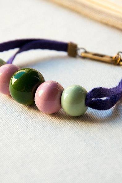 Ceramic Bracelet - Green and Pink ceramic beads and purple ribbon - porcelain jewelry - friendship bracelet - women mint fashion