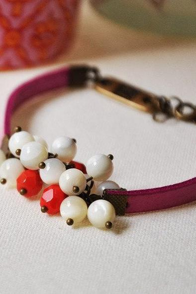Bracelet Fuchsia ribbon with mother of pearl and cherry red glass beads - statement jewelry
