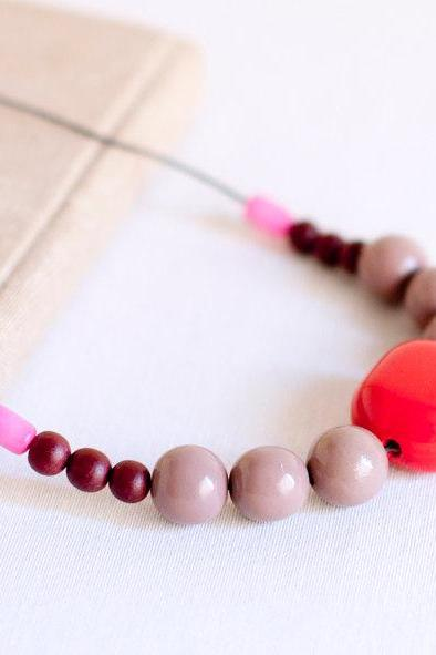 Necklace extra long. Ceramic and wood beads - rope jewelry