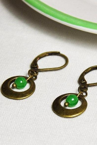 Earrings Metal hoop and green glass bead - glass jewelry