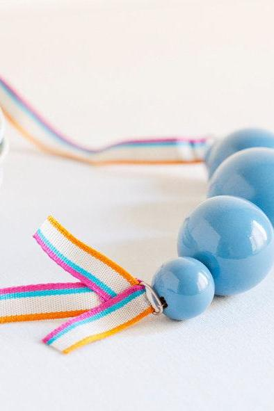 Wood Necklace - light blue wooden beads and striped ribbon - blue jewelry - ocean blue