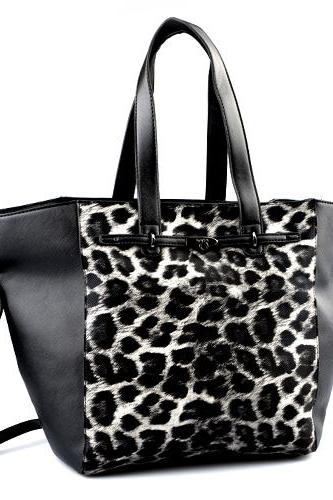 Leopard Print Black Leather Tote, Black Leather Handbag, Black Leather Shopper, Tote Handbag. Handbags Fall-Winter 2014/2015