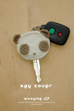Panda Key Cover Crochet PATTERN - Chart & Written Pattern by Kittying