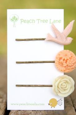 Pale Pink Swallow Bird Hairpin, Peach Flower Hairpin, Cream-Ivory Rose Hairpin Set Bridesmaid Gifts Maid of Honor Gifts - Spring