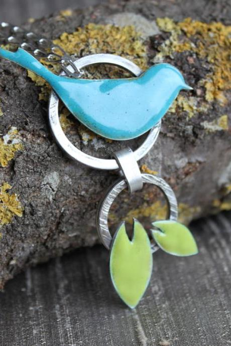 Necklace - silver bird in lime green and blue enamel