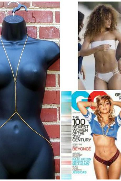 Gold Body Chain Necklace Popular Celebrity Trend Beyonce Rihanna Miley USA SELLER