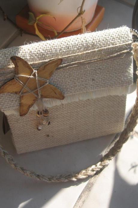 Natural Beach Style Purse, Starfish Bag