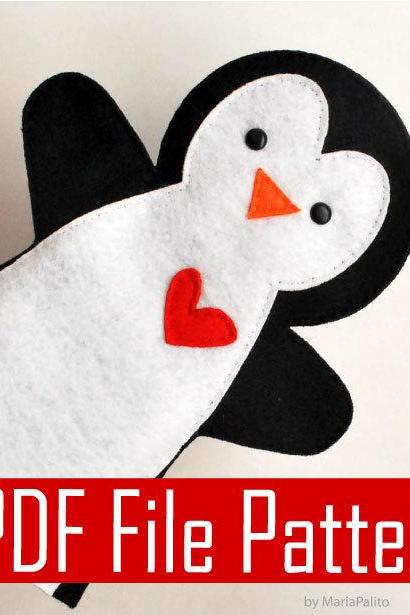 Penguin Hand Puppet PDF Sewing Pattern A511