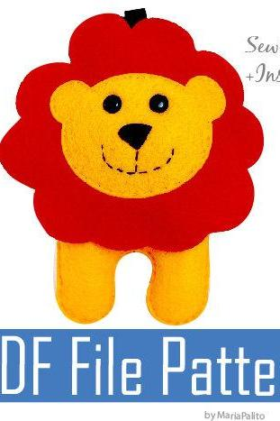 Baby Lion PDF Sewing Pattern for Felt LION Ornament A505